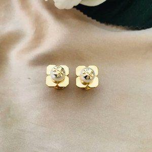 Tory Burch Four-Leaf Clover Pearl Logo Earrings